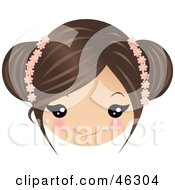 Royalty Free RF Clipart Illustration Of A Girl With Brunette Hair Wearing Floral Accessories