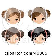 Royalty Free RF Clipart Illustration Of A Digital Collage Of Four Little Girls Wearing Floral Hair Accessories