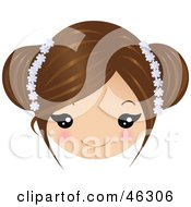 Royalty Free RF Clipart Illustration Of A Girl With Brown Hair Wearing Floral Accessories