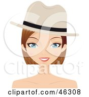 Royalty Free RF Clipart Illustration Of A Pretty Dirty Blond Woman Wearing A Beige Hat