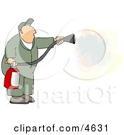 Repairman Spraying Fire Extinguisher On A Fire Clipart