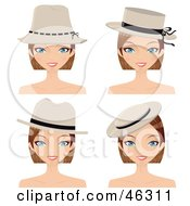 Royalty Free RF Clipart Illustration Of A Digital Collage Of A Dirty Blond Woman Wearing Different Hats