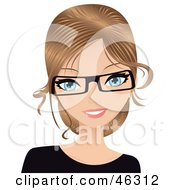 Royalty Free RF Clipart Illustration Of A Dirty Blond Caucasian Secretary Wearing Glasses