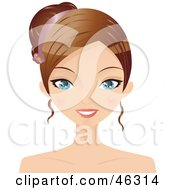 Royalty Free RF Clipart Illustration Of A Young Woman Wearing Her Hair Up With A Ribbon