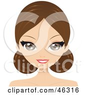 Royalty Free RF Clipart Illustration Of A Brunette Woman With Her Bangs Parted And Side Buns