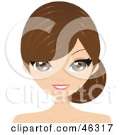Royalty Free RF Clipart Illustration Of A Woman With Bangs And A Low Side Pony Tail