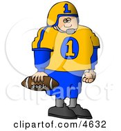 Young Male High School Football Player Standing With A Football In His Hand Clipart by djart