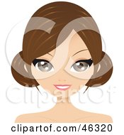 Royalty Free RF Clipart Illustration Of A Brunette Woman With Side Bangs Wearing Her Hair In Side Buns