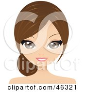 Royalty Free RF Clipart Illustration Of A Pretty Brunette Woman Wearing Her Hair Back In A Low Ponytail