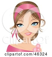 Royalty Free RF Clipart Illustration Of A Young Woman Wearing A Dark Pink Head Band And Floral Accessories by Melisende Vector #COLLC46324-0068