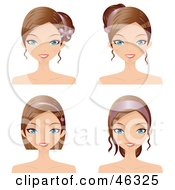 Royalty Free RF Clipart Illustration Of A Digital Collage Of A Woman Wearing Her Hair In Varying Styles With Accessories by Melisende Vector