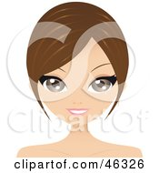 Royalty Free RF Clipart Illustration Of A Brunette Woman With Long Side Bangs