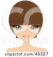 Royalty Free RF Clipart Illustration Of A Brunette Woman With A Short And Cute Hair Cut
