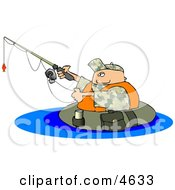 Float Tube Fisherman Fishing In A Lake Clipart