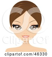 Royalty Free RF Clipart Illustration Of A Brunette Woman With Short Hair And Parted Bangs