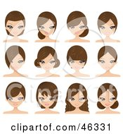 Royalty Free RF Clipart Illustration Of A Digital Collage Of A Woman Wearing Her Hair In Different Styles