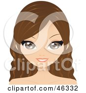 Royalty Free RF Clipart Illustration Of A Brunette Woman With Wavy Long Hair