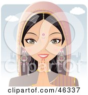 Royalty Free RF Clipart Illustration Of A Pretty Hindu Indian Woman Praying In Front Of A Temple