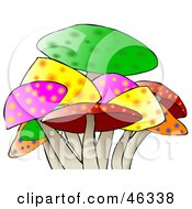 Royalty Free RF Clipart Illustration Of A Colorful Mushroom Patch