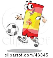 Royalty Free RF Clipart Illustration Of A Spain Flag Playing Soccer by Holger Bogen