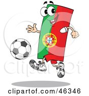 Portugal Flag Playing Soccer