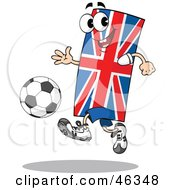Union Jack Flag Playing Soccer