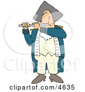 Revolutionary War Flutist Playing A Flute Clipart by djart