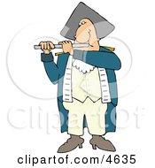 Revolutionary War Flutist Playing A Flute Clipart