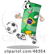 Brazil Flag Playing Soccer