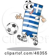 Greek Flag Playing Soccer