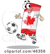 Canadian Flag Playing Soccer