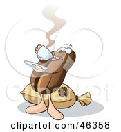 Royalty Free RF Clipart Illustration Of A Happy Coffee Bean Guy Standing By A Burlap And Sipping Java by Holger Bogen #COLLC46358-0045