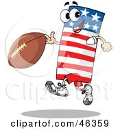 Royalty Free RF Clipart Illustration Of An American Flag Playing Football