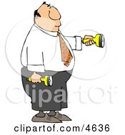 Businessman Shining Flashlights In Dark Places Clipart by djart