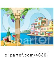 Royalty Free RF Clipart Illustration Of A Romantic Dining Scene With Red Wine Grape Vines And A Coastal Village On The Harbor
