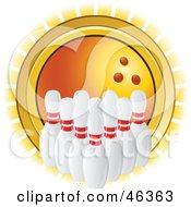 Royalty Free RF Clipart Illustration Of Lined Up Bowling Pins In Front Of A Shining Orange Ball