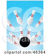 Royalty Free RF Clipart Illustration Of A Black Bowling Ball Crashing Into Pins In An Alley by elaineitalia