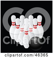 Royalty Free RF Clipart Illustration Of A Black Bowling Resting With Pins by elaineitalia