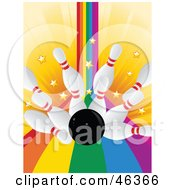 Royalty Free RF Clipart Illustration Of A Bowling Ball Crashing Into Pins In A Rainbow Alley