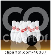 Royalty Free RF Clipart Illustration Of A Black Bowling Ball Barely Knocking Down Pins by elaineitalia