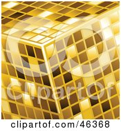 Golden Cube Made Of Shiny Tiles