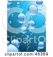 Background Of Shiny Blue Bubbles Rising To The Surface Of Water