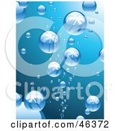 Royalty Free RF Clipart Illustration Of Bubbles Reflecting Palm Trees While Rising To The Surface Of Blue Water