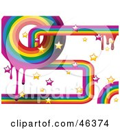 Funky Rainbow Background Of Dripping Paint And Stars On White