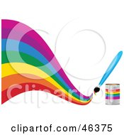 Royalty Free RF Clipart Illustration Of A Paintbrush Painting A Creative Curvy Rainbow On White