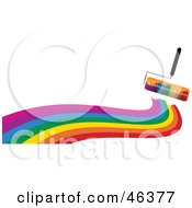 Royalty-Free (RF) Clipart Illustration of a Rolling Paintbrush Painting A Rainbow Wave On White by elaineitalia