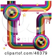 Royalty Free RF Clipart Illustration Of A Funky Music Rainbow Background With Drips Stars And Vinyl Records On White by elaineitalia