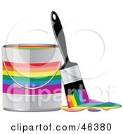 Royalty Free RF Clipart Illustration Of A Paint Brush Leaning Against A Rainbow Paint Can