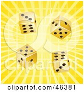 Four Lucky Gold Casino Dice Rolling On A Bursting Yellow Background