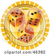 Three Casino Dice On An Orange And White Background